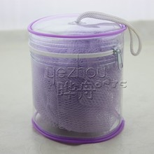 purple bath sponge with PVC bucket