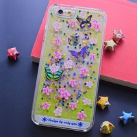 New Arrival Colorful UV Print Mobile Phone Case and Liquid Transparent Quicksand for iPhone 5/6/6 Plus Glitter