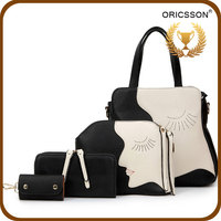 Top selling 4 Pcs set smile face handbags fashion 2015 for lady