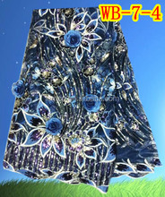 Colorful African cotton lace fabric high quality Mesh embroidery lace for dress WB-7-4