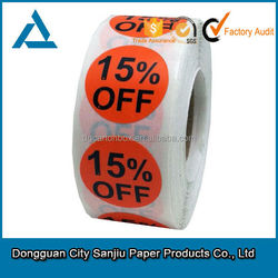 Customized Paper Label Roll Red Discount Label Sticker