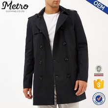 Customized High Quality Classic Men Navy smart double breasted trench coat