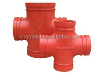 FM UL Approved 5 inch schedule 40 Ductile Iron pipe fitting cross