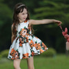 2015 Autumn Girl Dress Fancy Kids Clothes For Party Kids Wear Girl Flower Dress 3D Printed Only Dresses GD80727-1L