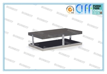 glass and Stainless steel base wooden top modern coffee table NA11-23