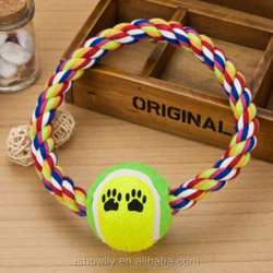 Details about Lovely Cotton Rope Pet Dog Puppy Cat Chews Toy Ring Fetch Play Toys With Ball