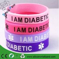 I am Diabetic Silicone Wristband/ debossed rubber bracelet / custom umbulance rubber wristband