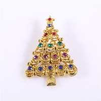 gold color christmas tree brooches pin
