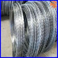 BTO-22 spiral cross electro-galvanized concertina razor wire/razor blade barbed wire for arid regions
