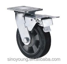 5 inch Aluminum core rubber double brake castor