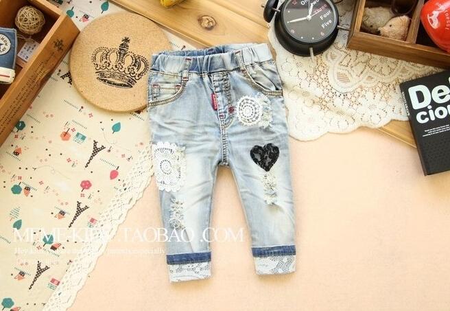Детские джинсы кружевом своими руками