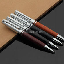 2014 for gift promotional pen set logo custom twist type metal and leather pen