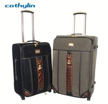 Trolley PU leather luggage case carry on luggage strap