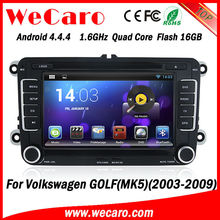 Wecaro Capacitive screen android car dvd for volkswagen golf mk5 GPS Navigation With bluetooth DVD Mirror Screen function