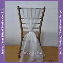 C247B New hot sale cheap white organza chair sash brooch