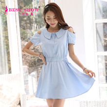 Summer New Arrival Fashion Dress Korean Style Backless Doll Collar Blue Adults Princess Dresses For Plus Size Teen Girls 1549