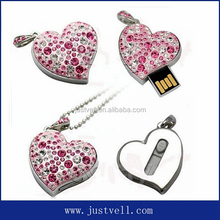 New arrival heart shape usb flash memory ,crystal usb flash drive