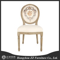 Louis french butterfly flower design chair Louis Style Solid Wood Oval Round Back Dining Chair