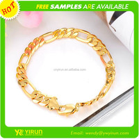 High quality fashion men's chunky artificial gold chain bracelet