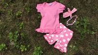 2015 hot sell new kids SUMMER pink white dot with matching headband and necklace set