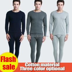 wholesale men long johns underwear 100% cotton light gray/black/gray Sleeping clothes
