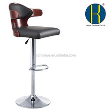 Bent wood seat,chromed gas lift and base, height adjustable bar stool HY2022H