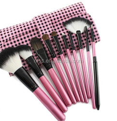 wholesale nylon hair makeup brush 10 pcs with pink cosmetic bag