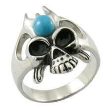 hot sale in Europe stainless steel new design mosaic turquoise simple skull ring