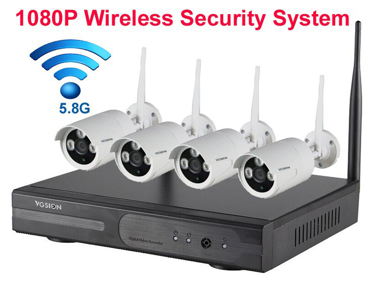 4channel 1080p security cameras wireless kit 4 cameras surveillance kit wireless video p2p. Black Bedroom Furniture Sets. Home Design Ideas