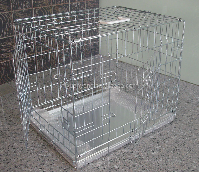 high quality double doors metal pan folding metal kennel