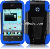 Black & Blue T-Stand Hybrid Cover for T-Mobile Huawei Prism 2 II U8686