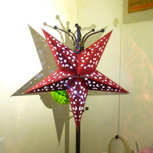 party decoration red color LED led hanging paper lanterns with star shapes