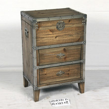 shabby chic wood chest with two drawers and one open lid