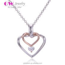 2015 Fine Fashion Women Pendant Gold And Silver Plated Crystal Interlocking Heart Pendant