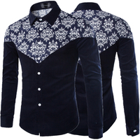 2015 New men's Europe and America big size long sleeve shirt M-5XL fancy printed shirt