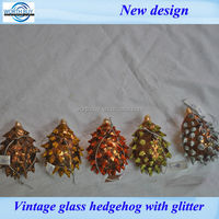 2014 Christmas vintage blown glass hedgehog decoration from shenzhen factory