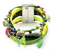 Hot sell multilayer woven wrap bracelet bohemian turkish eye bracelet