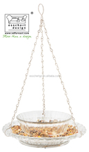 Hanging bird water feeder hobnail glass with bowl S