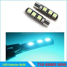 Best selling products car LED canbus T10 5050 6smd led light manufacturer 12V Bulb Car Interior Led Light Furniture Led light