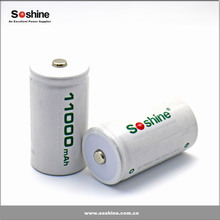 Newest Soshine D/R20 Size 1.2v Norminal Voltage Rechargeable Batteries NiMH 11000mAh D size ni-mh battery