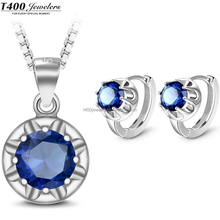 T400 Rhinestone pendant Necklace/Earrings 925 sterling Silver Jewelry Sets for women with branded gift box #S015