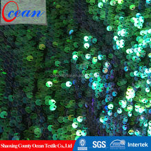 High quality exotic fantasy wood multi color sequin fabric for women garment