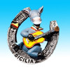 Hot Lovely donkey playing violin Resin fridge magnet from italy