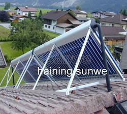 solar heat pipe collector installed on slopping roof