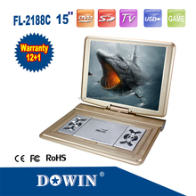 HOT! large screenportable dvd player with 7.4v battery wide voltage manufacture wholesale OEM nice quality warranty home family