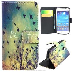 Fashion Pattern Leather Flip Card Slot Holder Case For Samsung galaxy s4 mini 9190