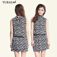 Womens High Neck Floral Printed Multicolor Short Casual Dress, Alibaba Dresses, Clothes Women