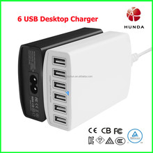220V AC to 5V dc Phone Charger PAD Charger 6 USB port 12A total 2.4A max each TUV Certificates