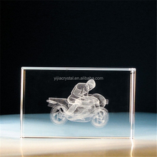 3D Laser Engraving Racing Motorcycle For Crystal Blank