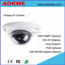Aokwe 1.3/2mp megaxpixels indoor dome 130/180/360 degree Fisheye IP camera